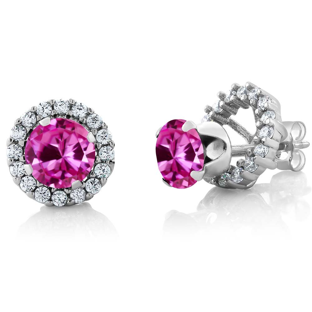 2.00 Ct Round 6mm Pink Created Sapphire Silver Removable Jacket Stud Halo Earrings