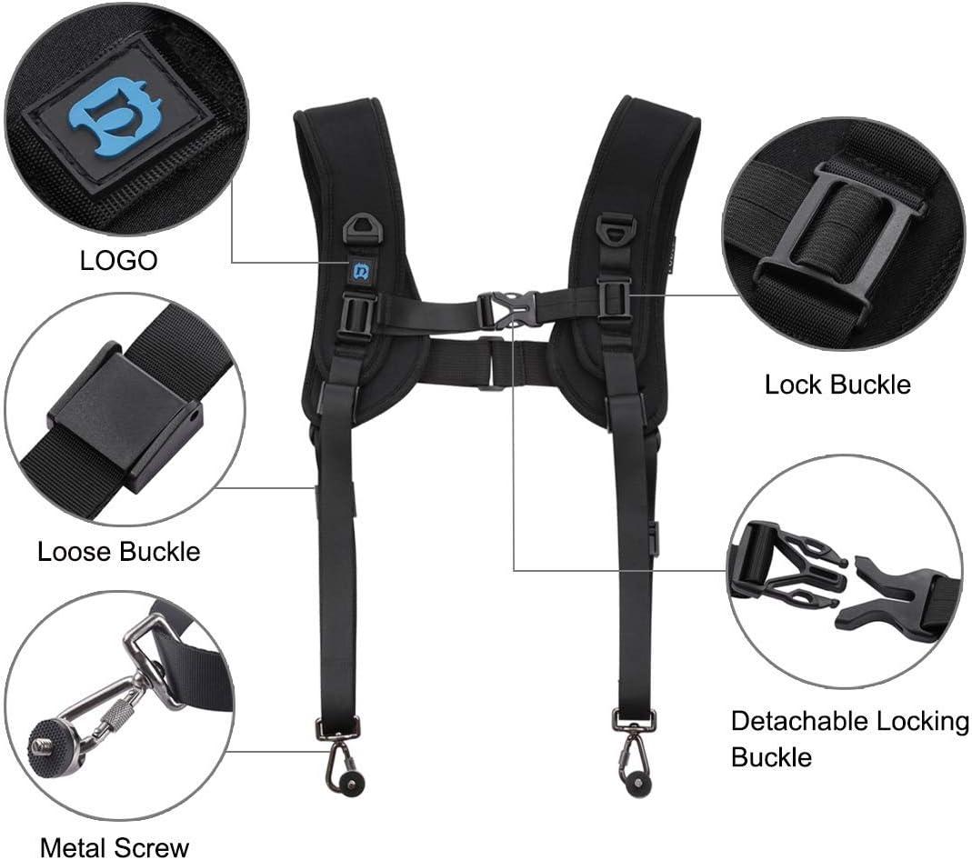 Camera Shoulder Double Strap Quick Release Harness Dual Camera Tether Strap Soft Pad Decompression Foam Strap Belt for DSLR Digital Cameras