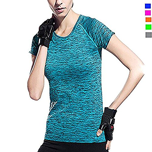 Activewear Shirt Women, Women Moisture Wicking Athletic T Shirts, Workout Sportwear Quik Dry, For Running Yoga, Color Blue Green Red Grey Orange, Size L M S