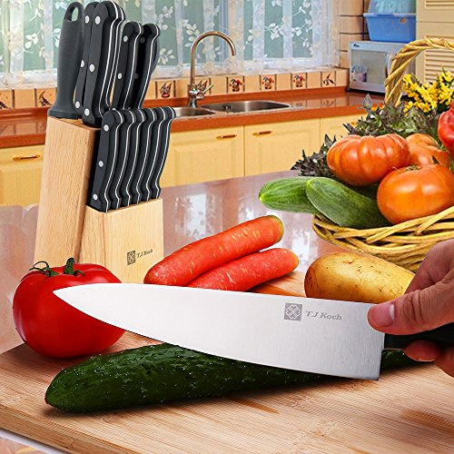 Knife Set,Knife Block Sets Stainless Steel Kitchen Knives 15-Piece 8'' Chef Slicing Bread 5'' Utility 3½'' Paring 4½'' Steak Knives Sharpener Fruit Board, Sharp Blade Classic Handle Grip Gift Box by T.J Koch (Image #7)
