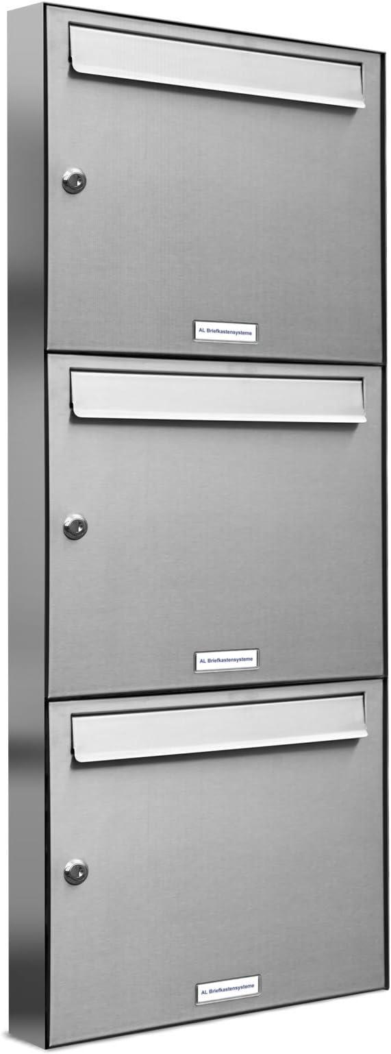 3er Briefkastenanlage Wei/ß Postfach 3 F/ächer Standbriefkasten Briefkasten Postkasten