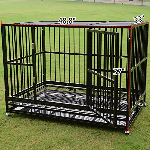 Three Size Heavy Duty Pet Dog Cage Strong Metal Crate Kennel Playpen w/ Wheels&Tray (48