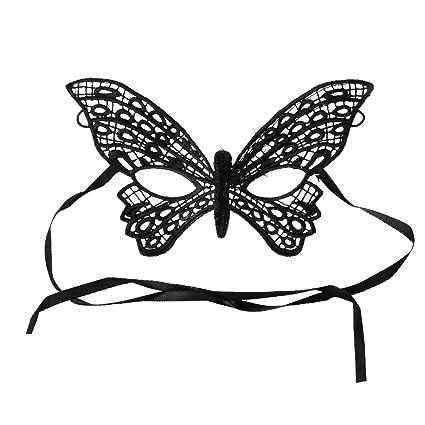 Máscara Mascarilla de Ojos Encaje Negro Estilo Mariposa para Mujer Fiesta Mascarada