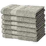AmazonBasics Toalla de algodón de mano, resistente a la decoloración, paquete de 6, gris