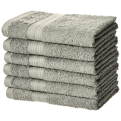 Kitchen Bath Hand Towel - AmazonBasics Fade-Resistant Cotton Hand Towel - Pack of 6, Grey