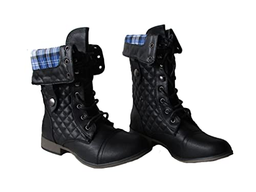 Legend-3 Womens Plaid Two Button Foldover Military Combat Boots Black