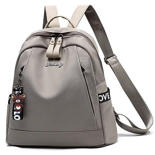 FiveloveTwo Mujer Niña Moda Antirrobo Bolsos Mochila Tela Oxford Con Adornos de Oso Bolso de hombro de la Escuela Viaje Ocio Backpack Rucksack Gris: ...