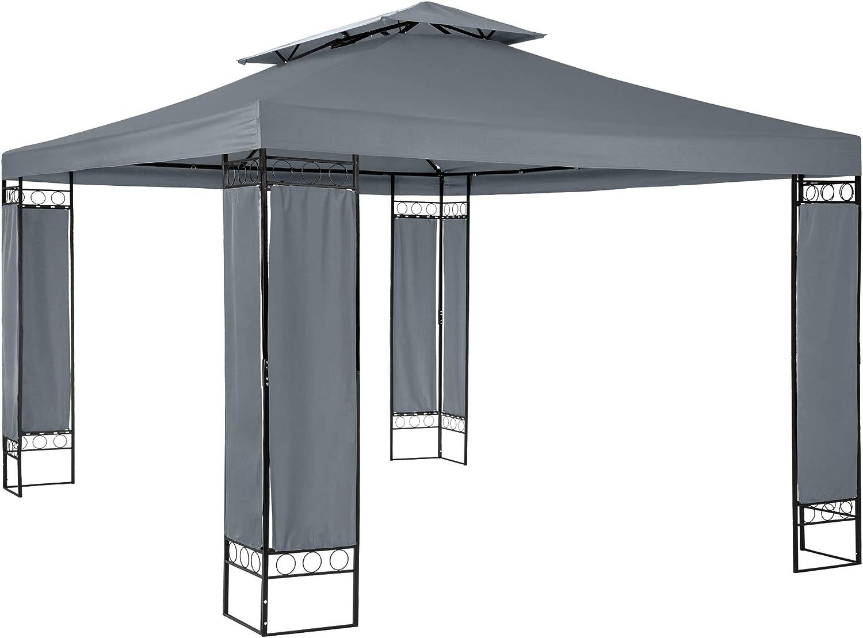 TecTake 800724 - Carpa de jardín autoportante 3, 9 x 2, 9 m, Techo en Dos Partes, Estructura de Metal, Anthracite | no. 403272: Amazon.es: Jardín