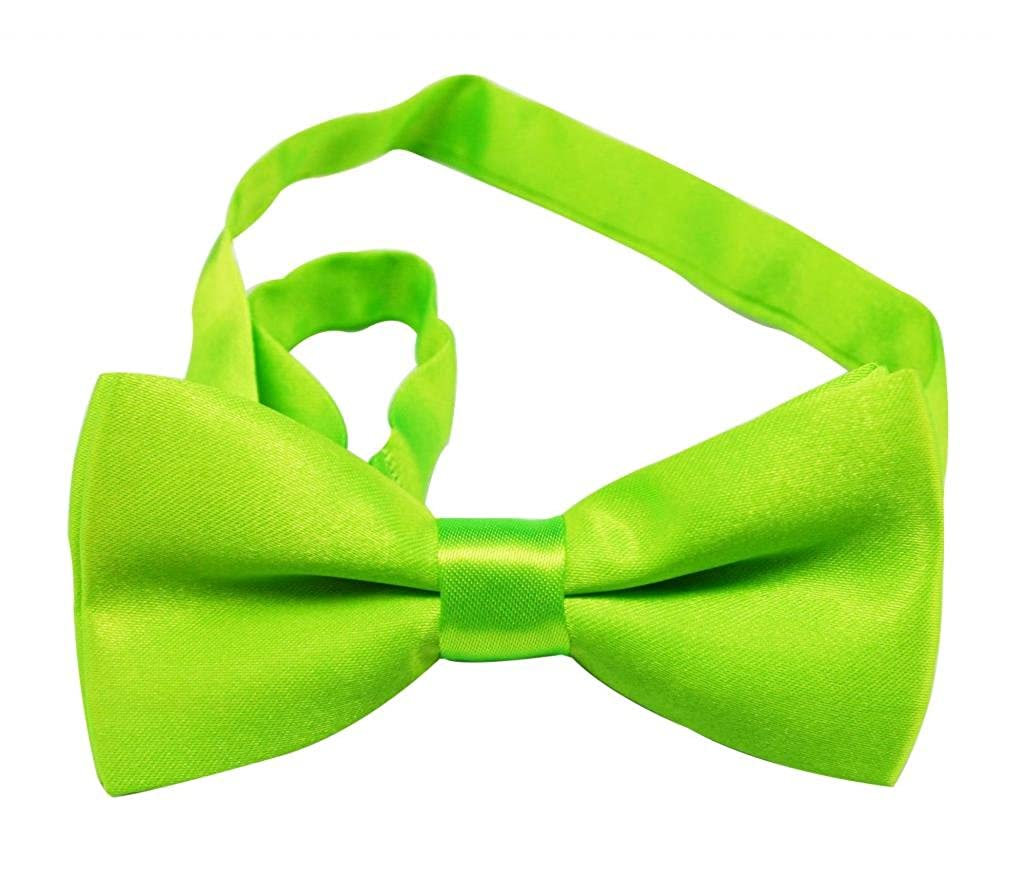 Generic Boys Polyester Bow Tie Green Solid Color Pack Of 2