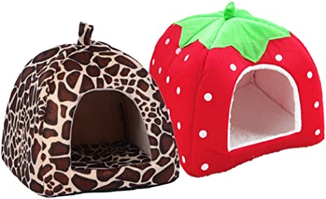 Pet Dog House Pet Cave Tent Bed Soft Fleece Dog House Leopard Printed Waterproof Beds Kennel for Dogs and Cats
