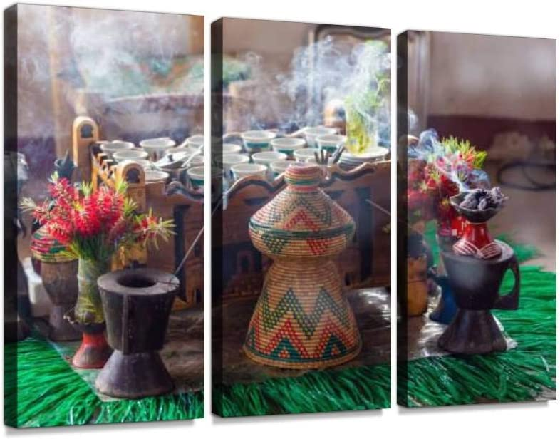 YKing1 Cup of Ethiopian Coffee with Aromatic Frankincense Ethiopian Foods Wall Art Painting Pictures Print On Canvas Stretched & Framed Artworks Modern Hanging Posters Home Decor 3PANEL