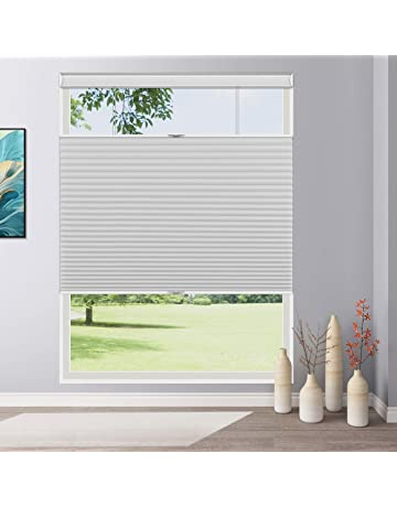 HULDORO Cordless Blackout Cellular Shades,Custom Honeycomb Blinds for Windows,Pull Down Cellular Shades Gray 24 W /× 68 H
