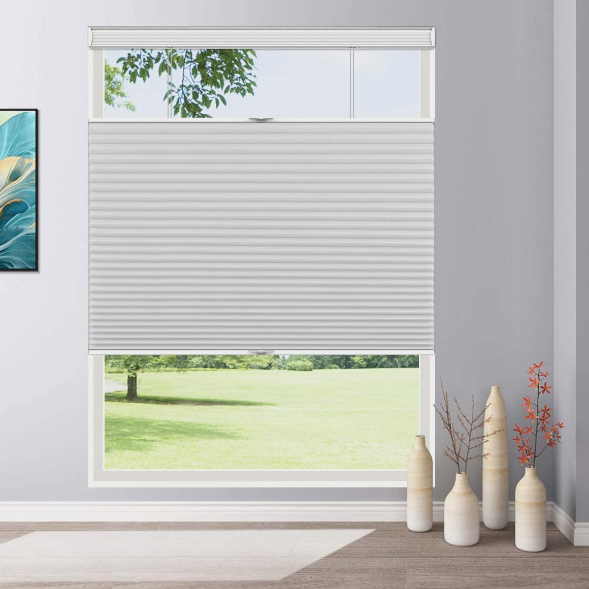 Keego Cordless Cellular Shades Top Down Bottom Up Blackout Custom Cut To Size Room Darkening Honeycomb Blinds For Home Office Window White 19 3 4 Wide X 36 High Window Treatments Blinds Shades