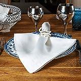 "Linen Dinner Napkins – Set of 6 100% Pure European Flax Natural White Square Kitchen Napkins – Perfect 18"" x 18"" Size – Classy Cloth Dinner Napkins for Restaurants, Birthdays, Wedding Table Decor"