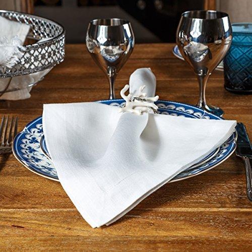 "Linen Dinner Napkins – Set of 6 100% Pure European Flax Natural White Square Kitchen Napkins – Perfect 18"" x 18"" – Classy Cloth Dinner Napkins for Restaurants, Birthdays, Wedding Table Decor"