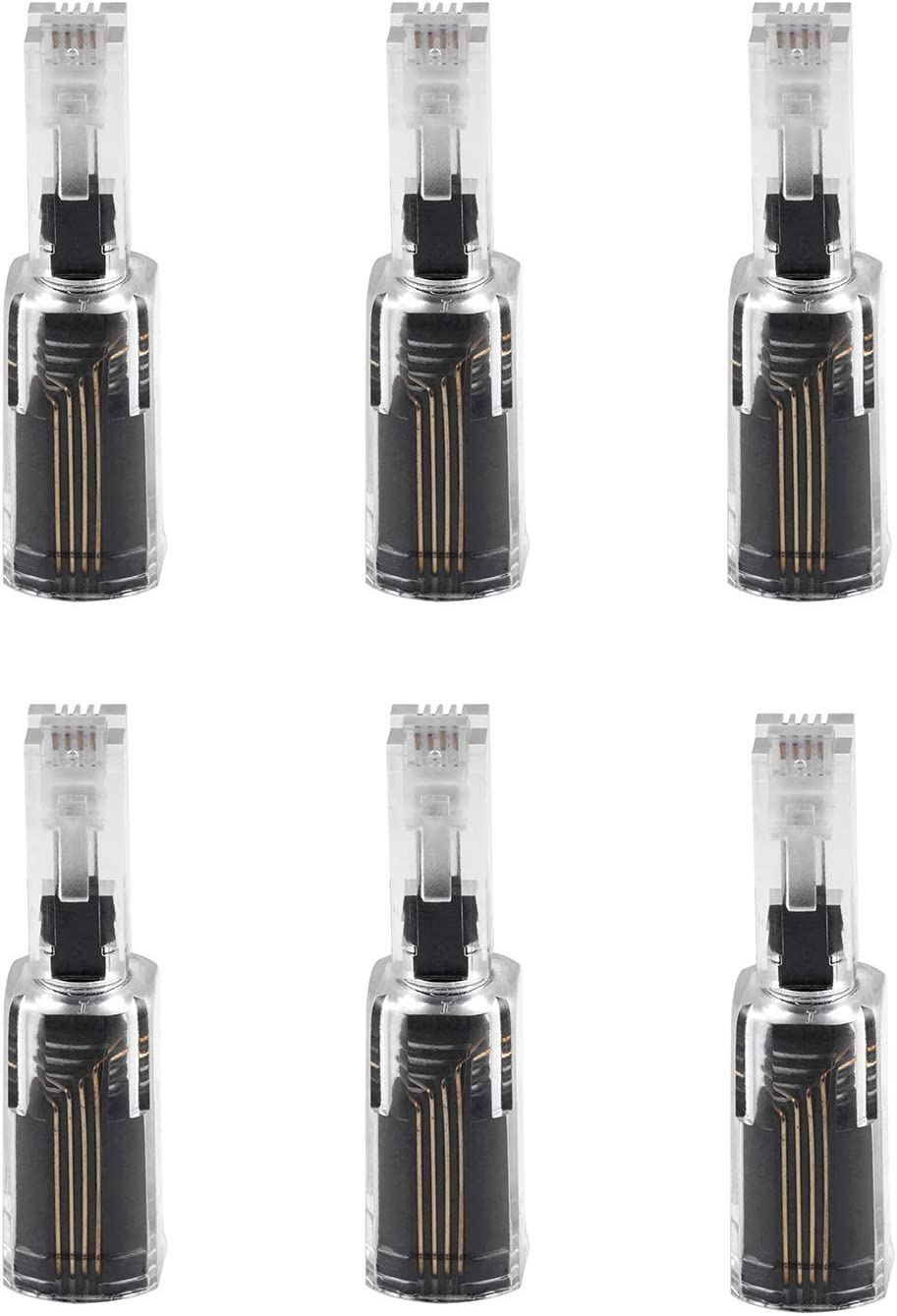 Power Gear Telephone Cord Detangler, 6 Pack, Tangle-Free 360 Degree Rotation, Plug into Landline Phone Handset, For Use in Home or Office, All Brands, Black, 46085