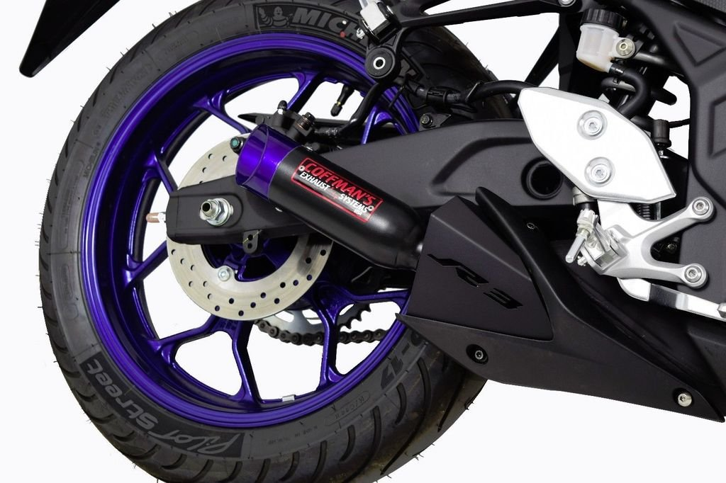 Yamaha R3 YZF-R3 (2015-2019) Coffman's Shorty Exhaust with Blue Tip and Exhaust Guard by Coffman's