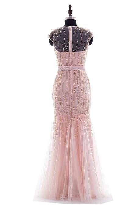 Amazon.com: Ikerenwedding Womens Sheer Straps Beading Sequins Mermaid Formal Evening Gown: Clothing