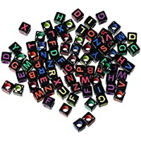 iDream Acrylic Alphabet Letter Beads Square for DIY Jewelry Making Loom Band Bracelets (Black, Multicolour) - 100 Pieces