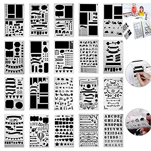 OffBiz Bullet Jurnal Lettering Stencil Journaling Set 20 Pcs Letter Drawing Painting Alphabet Number Craft Ruler Template for Scrapbooking Card Projects Plastic Planner Daily Book by OffBiz