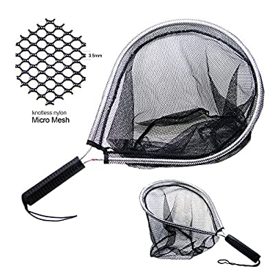 SAMSFX Aluminum Landing Nets Catch and Release Net Fish Saver Nylon Mesh for Fly Trout Kayak Boating Fishing