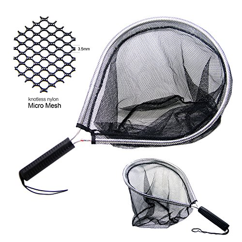 SAMSFX Aluminum Landing Nets Catch and Release Net Fish Saver Nylon Mesh for Fly Fishing Trout Kayak Boating