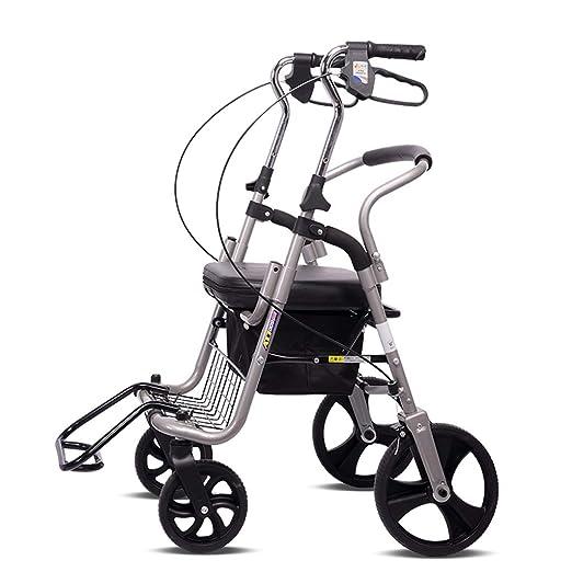 Andador plegable de aluminio con freno de 22,86 cm de rueda ...