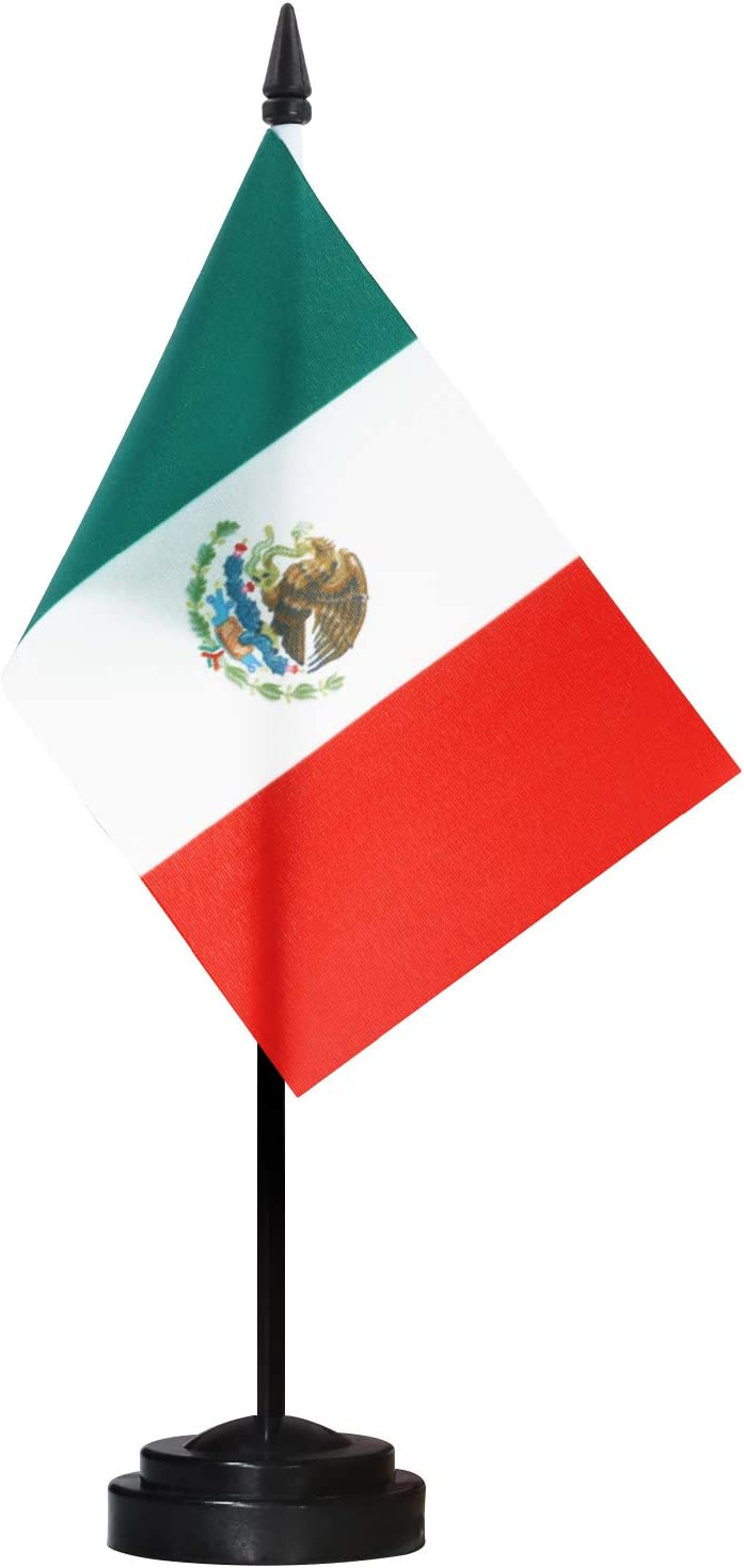 Black Base and Spear Top ANLEY Mexico Deluxe Desk Flag Set Vivid Color and Fade Resistant 6 x 4 Inch Miniature Mexican Desktop Flag with 12 Solid Pole