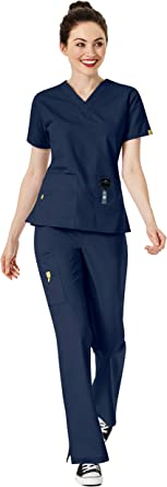 WonderWink Origins Scrub Set XS Women/'s 6016 Bravo Top /& 5026 Romeo Pant Navy
