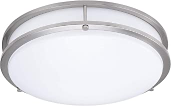 Lb72122 Led Flush Mount Ceiling Light 16 Inch Antique Brushed Nickel 23w 180w Equivalent 1610 Lumens 3000k Warm White Etl Dlc Listed Energy Star Dimmable Amazon Com