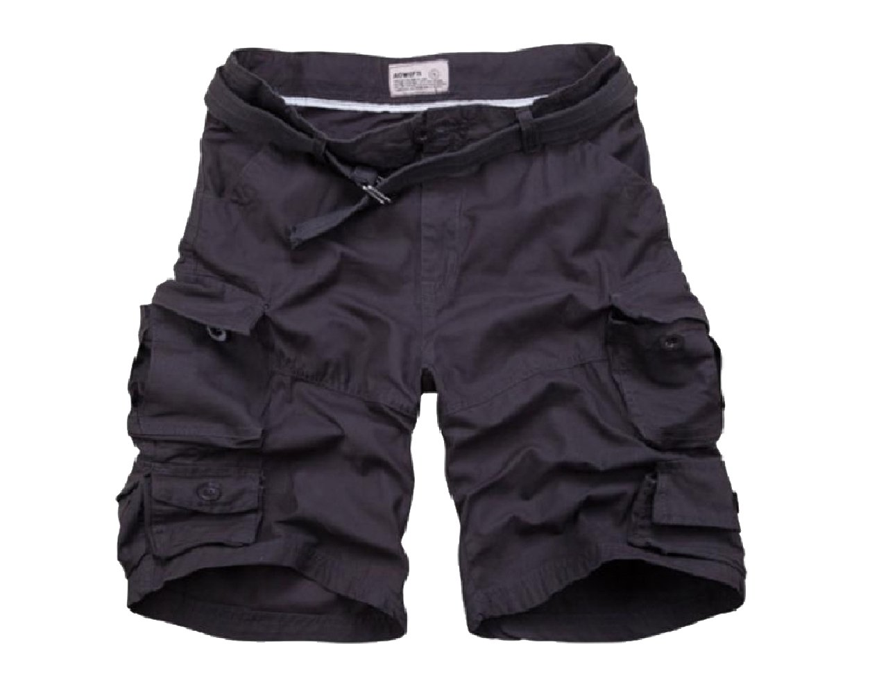 Winwinus Men Baggy Summer Belted Multi-Pockets Fine Cotton Boardshorts Dark Grey 2XL by Winwinus (Image #1)