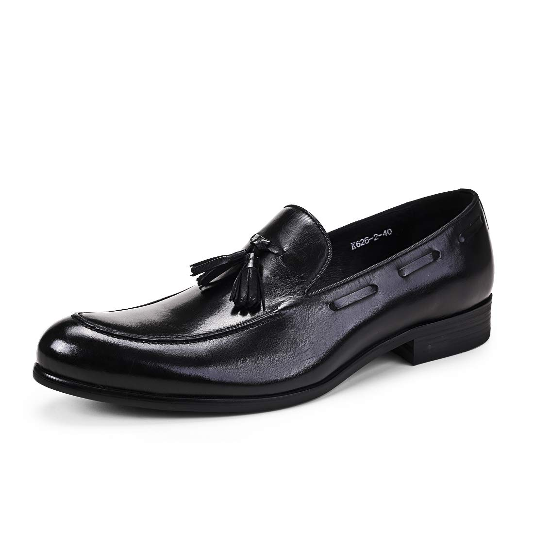 Black Mens Round Toe Loafers Genuine Business Smoking Driving Leather Footwear Boat Formal Casual Tassel Dress shoes shoes