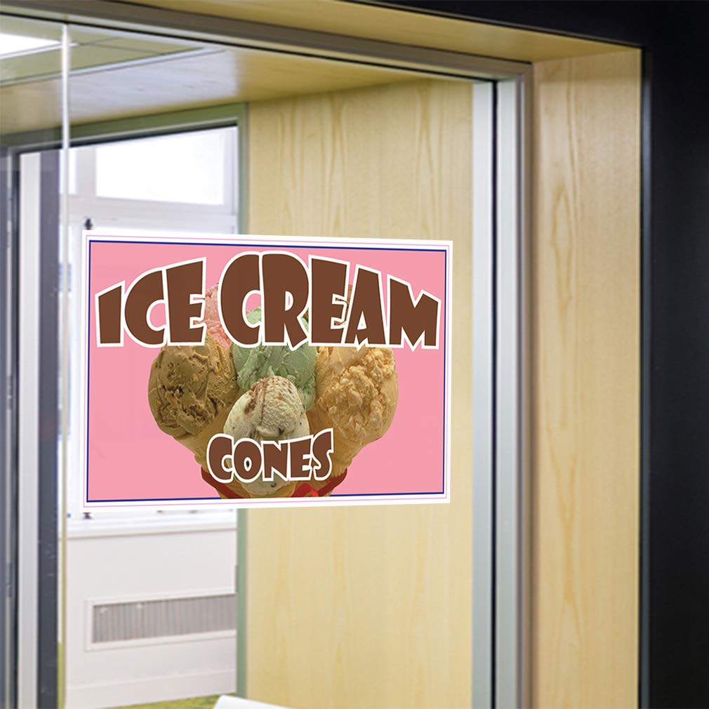 54inx36in Set of 2 Decal Sticker Multiple Sizes Ice Cream Cones Restaurant Cafe Bar Style U Retail Ice Cream Outdoor Store Sign Brown