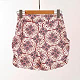 vermers HOT! Women Pants, Floral Printing High Waist Lace Shorts Summer Casual Shorts (S, Beige)