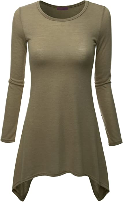 b62fac6f4f4e1 Doublju Long Sleeve Crewneck Cotton Knit Asymmetrical Tunic Top For Women  With Plus Size Cocoa Small