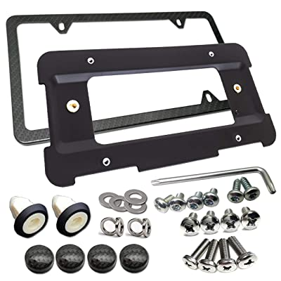 Rear License Plate Bracket Frame- Compatible BMW 1 to 6 Series Mount Tag Holder with Plug-in Expanding Nuts & Carbon Fiber Style License Plate Frame and Stainless Steel Screw Compatible All BMW: Automotive