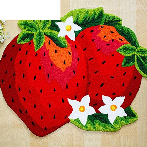 Inverted Strawberry (DIDIDD Europe and the united states home thicker strawberry non-slip carpet living room bedroom foot pad vacuuming bathroom water absorption hand washable mat)