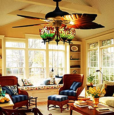 Makenier Vintage Tiffany Style Stained Glass 5-light Dragonfly Uplight Lampshade Ceiling Fan Light Kit, with Banana Leaf Shaped Blades