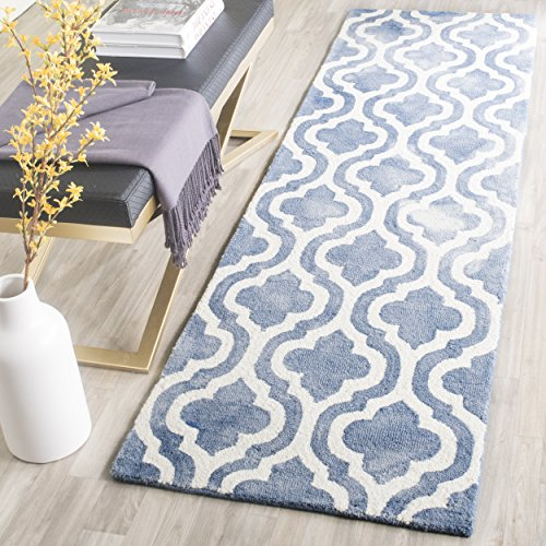 Safavieh Dip Dye Collection DDY537K Handmade Geometric Moroccan Watercolor Blue and Ivory Wool Runner (2'3