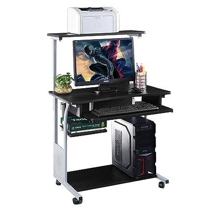 Escritorio para ordenador con estante para impresora, mesa de estudio para ordenador portátil