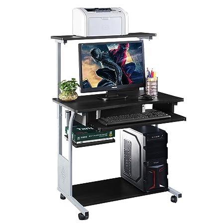 Escritorio para Ordenador con estantería para Impresora, Mesa de ...