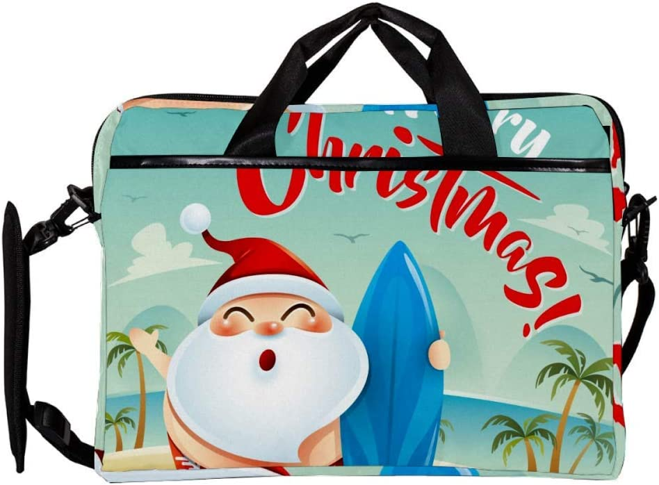 Anmarco Smile Santa Clause Hold A Surfboard 14 Inch15 Inch Laptop Shoulder Messenger Bag Crossbody Briefcase Messenger Sleeve for 14 Inch to 15.4 Inch Laptop