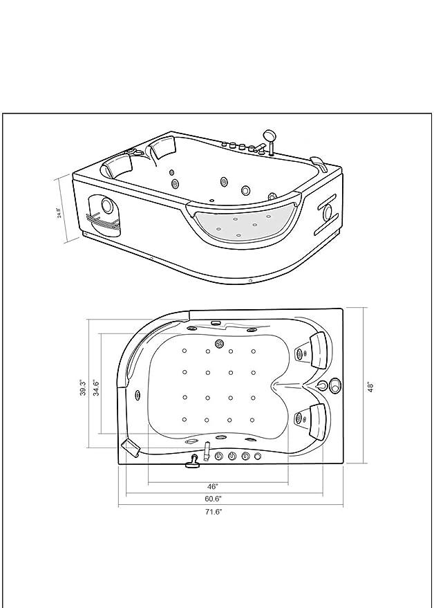 Whirlpool bathtub hydrotherapy black hot tub 71