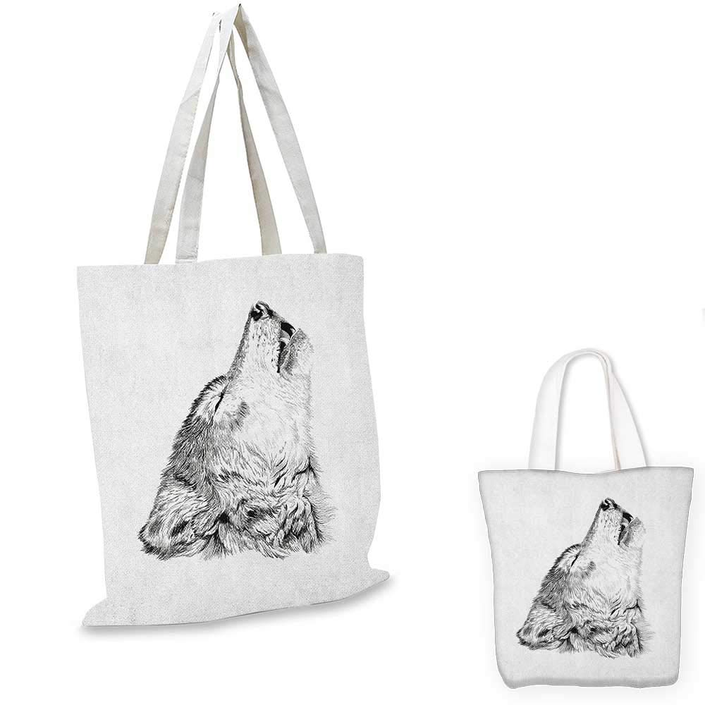 Wolf small clear shopping bag Fairy Tale Design with Little Girl Colorful Scarf Big Scary Animal Sketch Style sloth shopping bag Black Red White 14x16-11