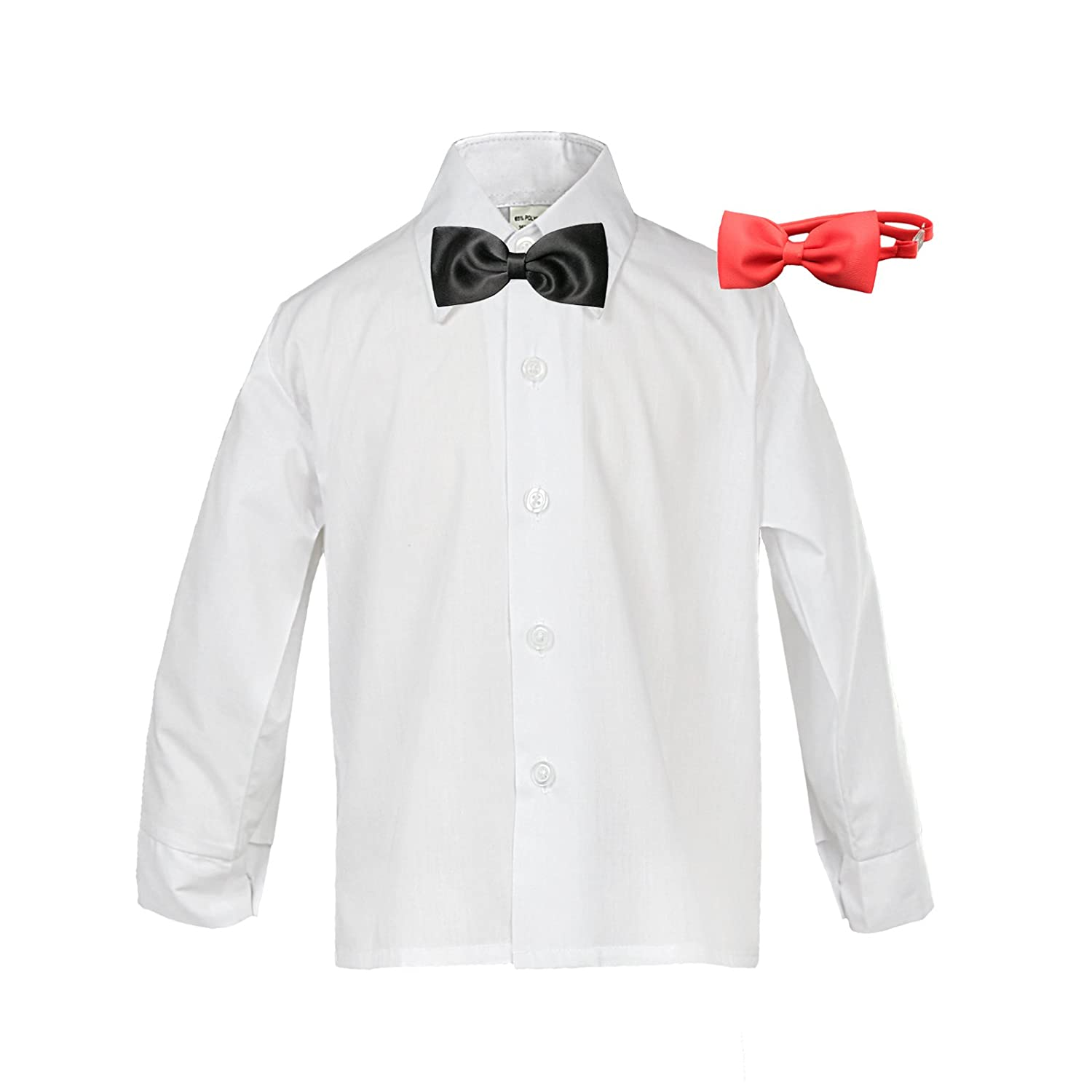 Baby Boy Kid Formal Tuxedo Suit White Dress Shirt Color Red & Black Bow tie Sm-4