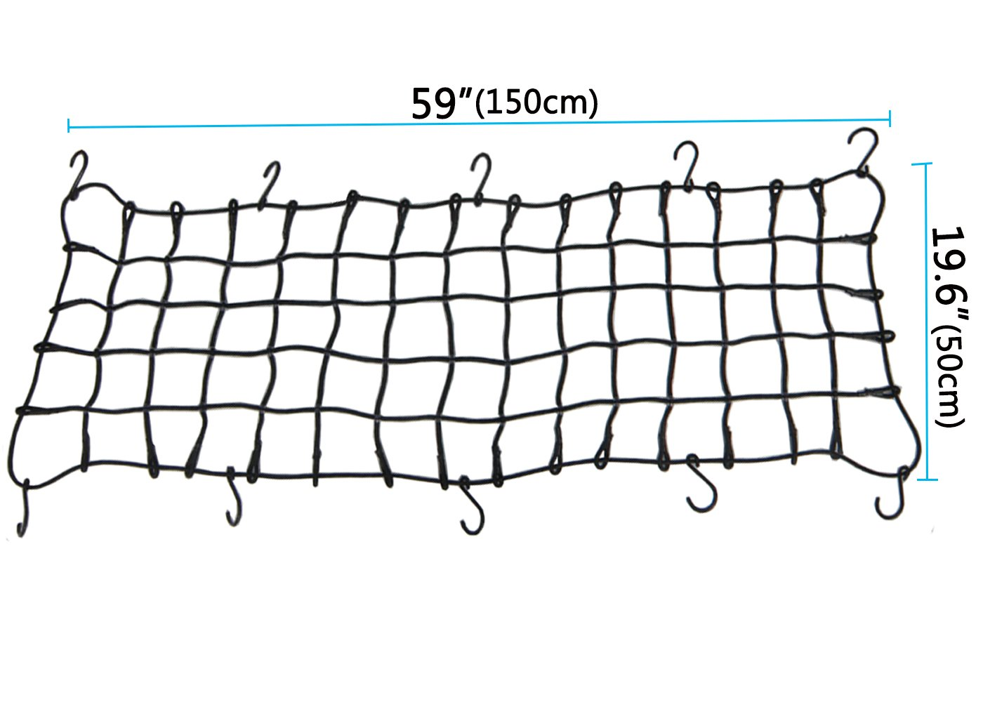 Big Ant 19.6 x 59 Bungee Cargo Net Stretches to 35 x 78 Cargo Nets with 10 Adjustable Metal Hooks,7mm Cords