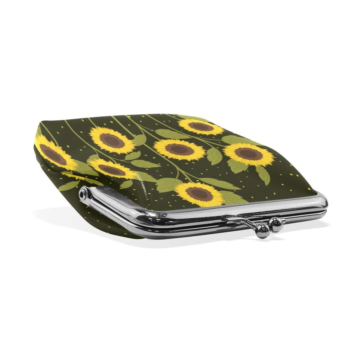 Fashion Womens Coin Purse Beautiful Sunflowers Starry Sky Vintage Pouch Kiss-lock Mini Purse Wallets