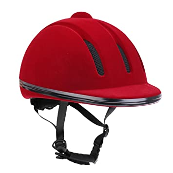 MagiDeal Casco de Equitación Ajustable Gorro de Seguridad Accesorio de Hípica Negro M/Rojo L