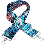 "Selling Wonderful 2"" Wide 28""-50"" Adjustable Length Handbag Purse Strap Guitar Style Multicolor Canvas Replacement Strap Crossbody Strap, With 2Pcs Silver Metal Buckles (Style1)"