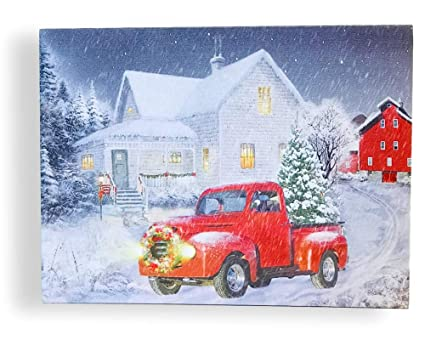 banberry designs red truck print led lighted christmas picture with vintage red truck and xmas